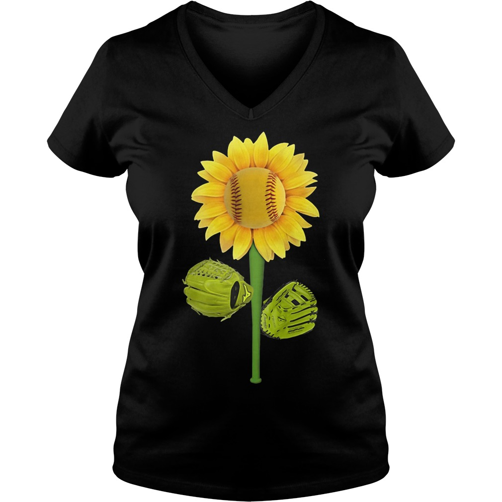 Sunflower baseball V-neck T-shirt