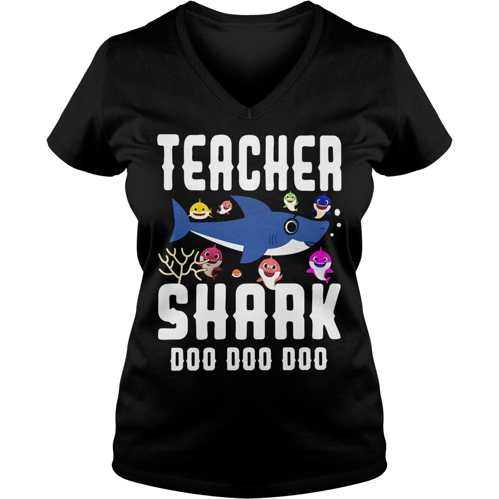 Teacher baby shark doo doo doo V-neck T-shirt