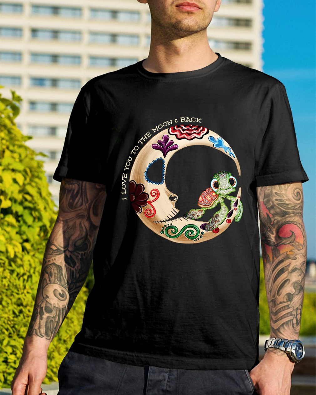 Turtle I love you to moon and back shirt