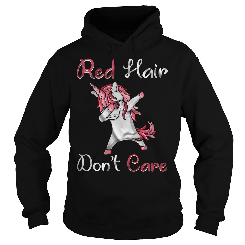 Unicorn dabbing red hair don't care Hoodie
