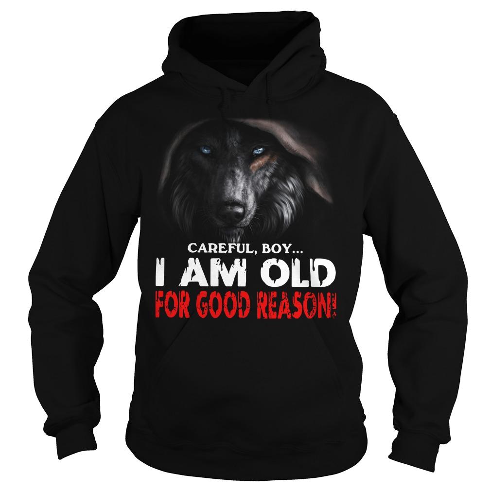 Wolf careful boy I am old for good reason Hoodie
