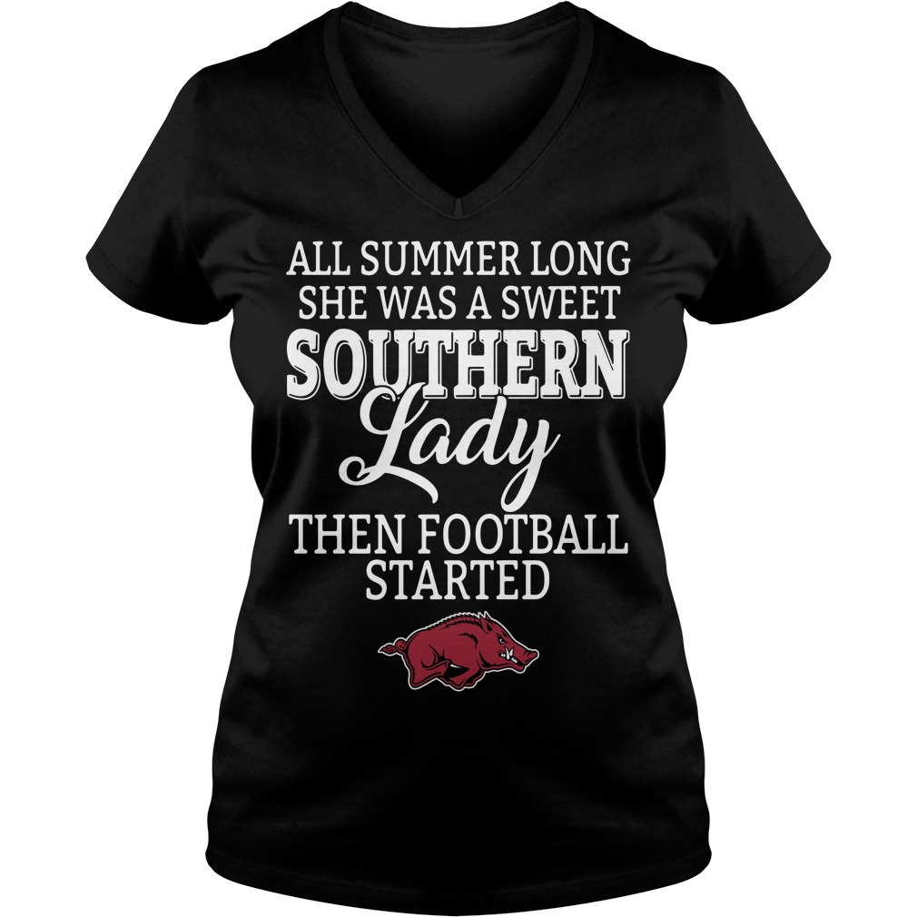 Arkansas Razorbacks all summer long she was a sweet Southern V-neck T-shirt