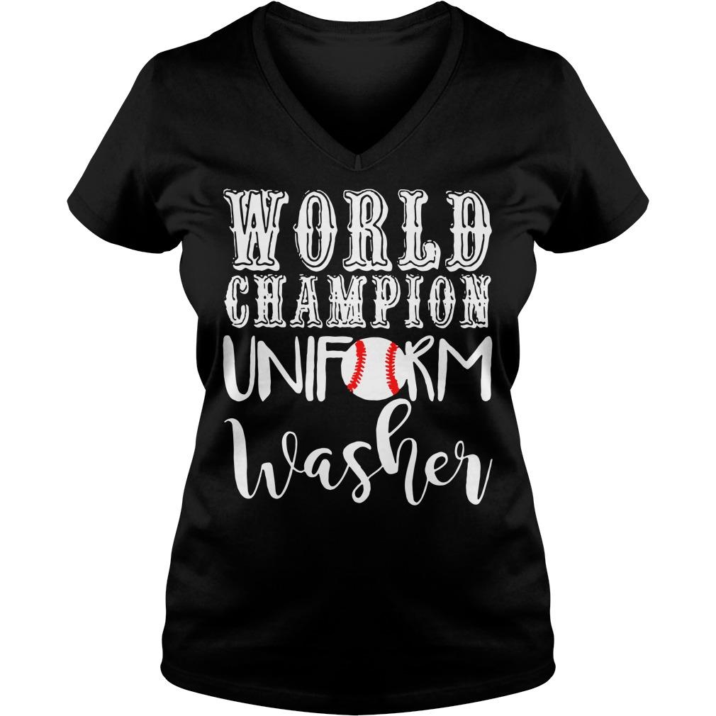 Baseball world champion uniform washer V-neck T-shirt