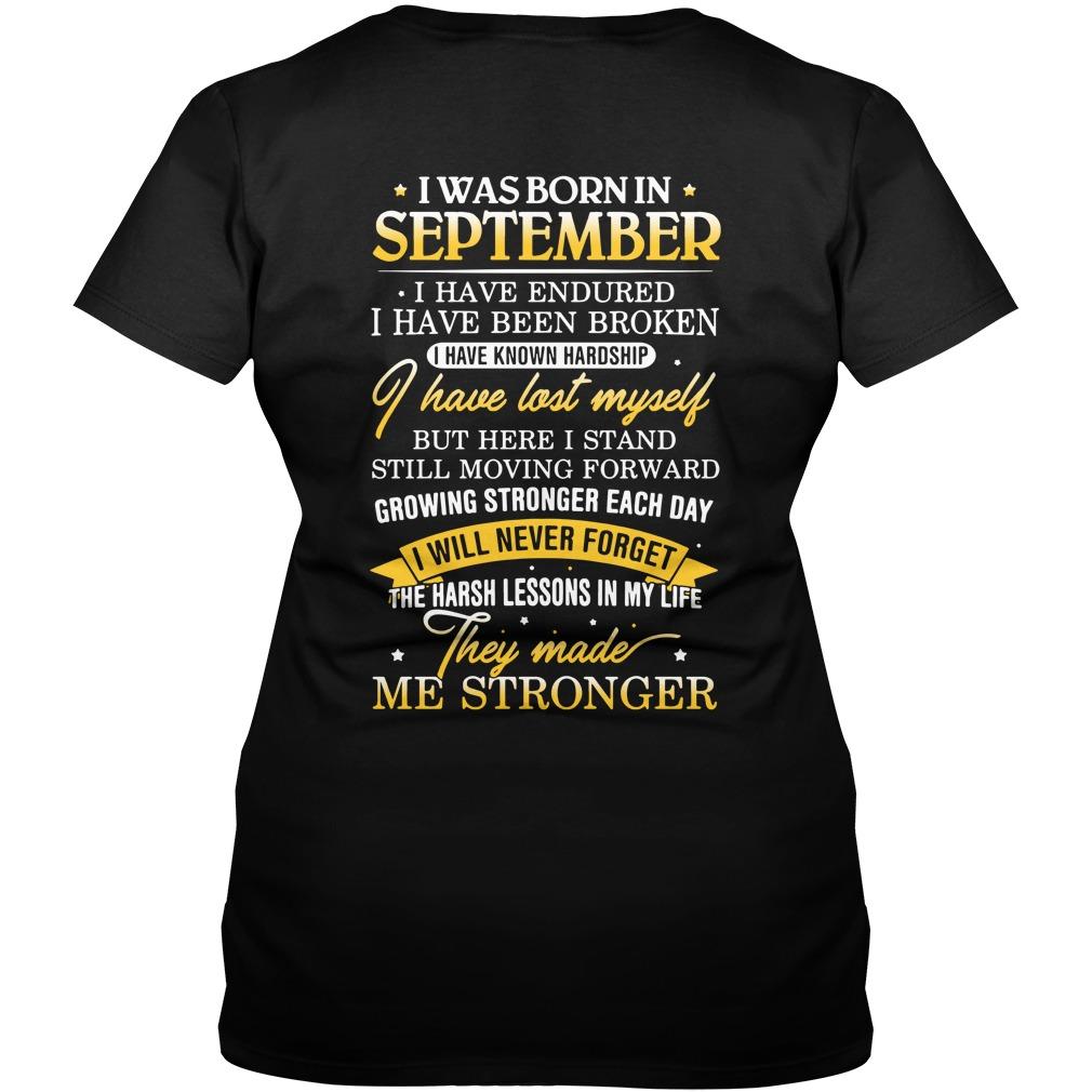 I was born in September I have endured I have been broken V-neck T-shirt