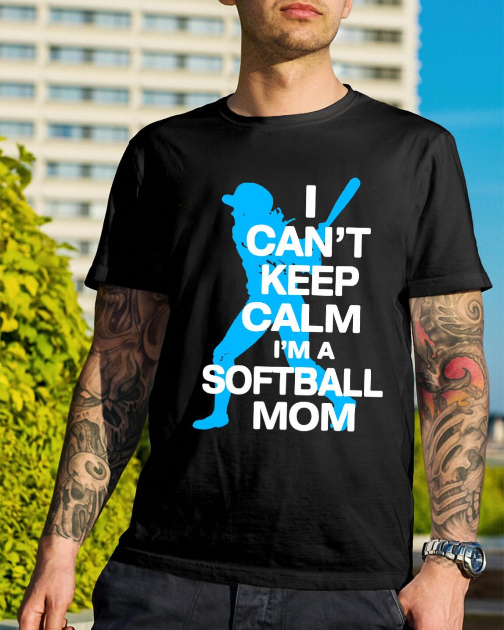 I can't keep calm I'm a softball mom shirt