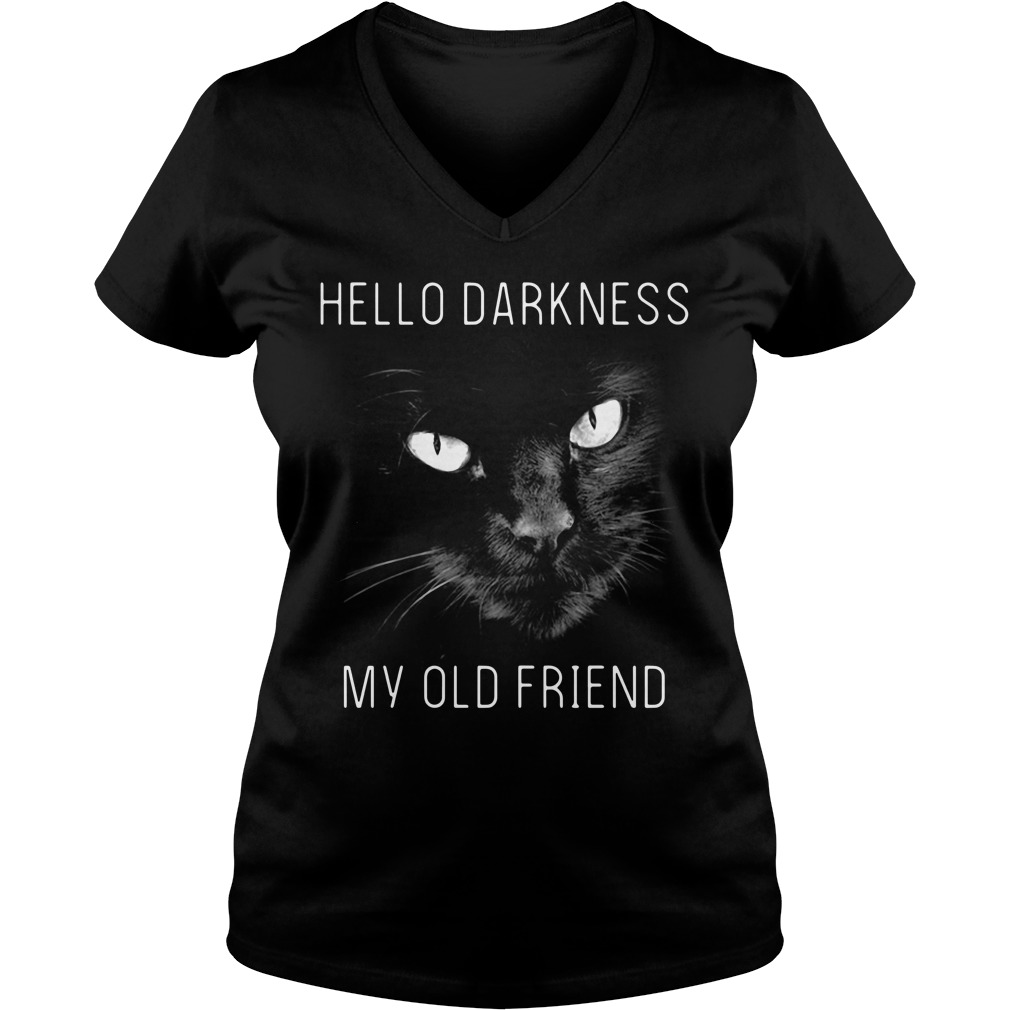 Cat hello darkness my old friend V-neck T-shirt