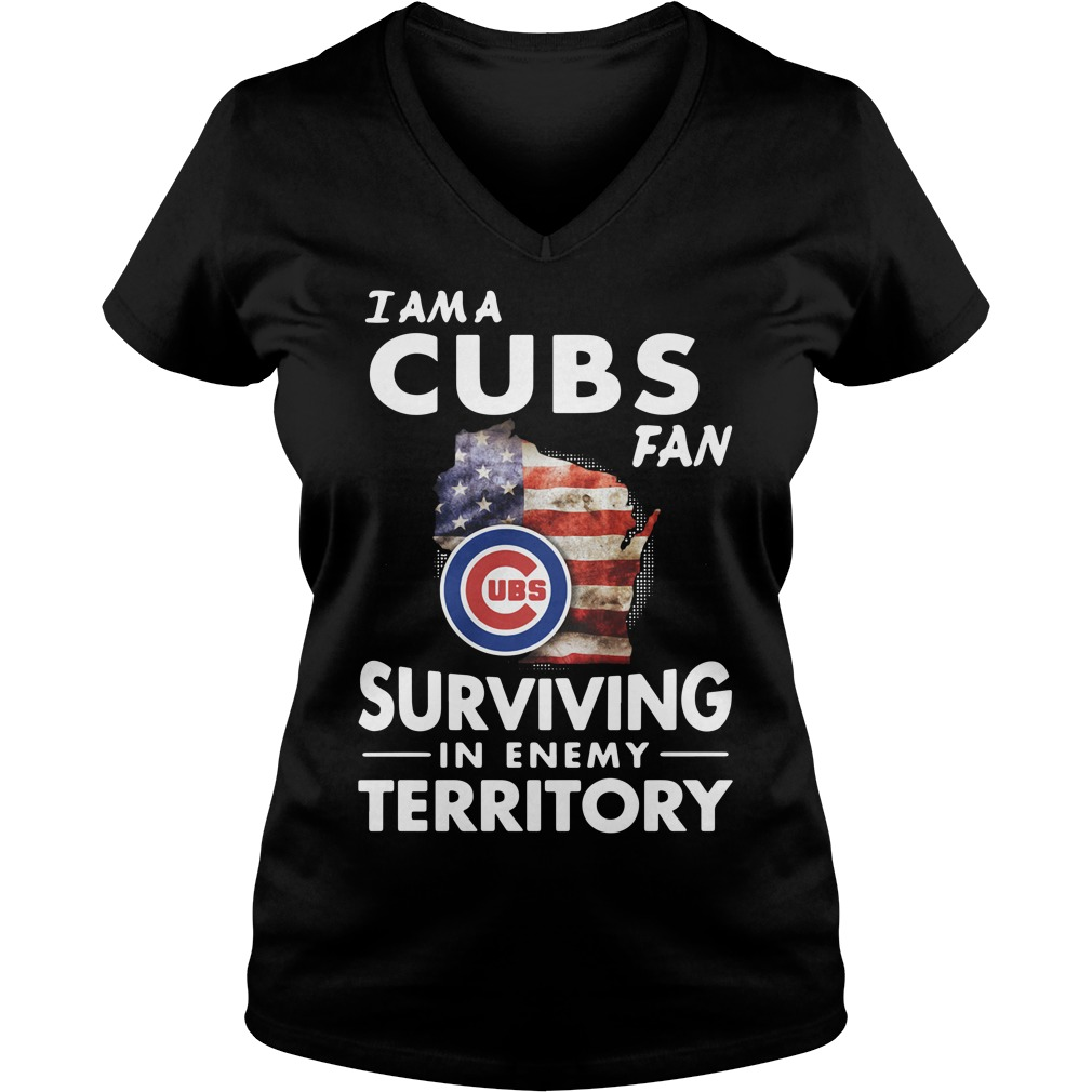 I am a Cubs fan surviving in enemy territory V-neck T-shirt