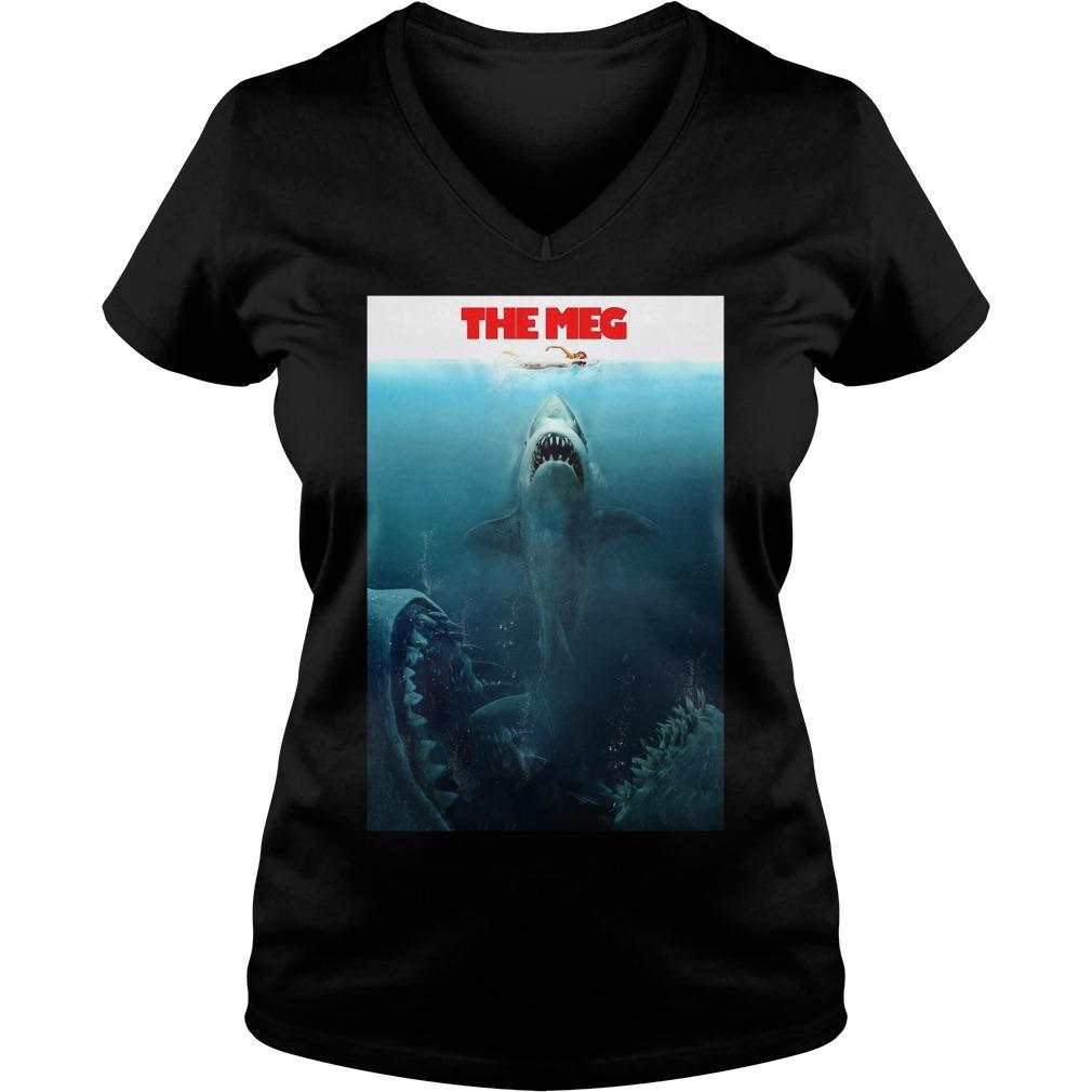 The Meg Jason Statham Shark Movie 2018 Worn Look V-neck T-shirt