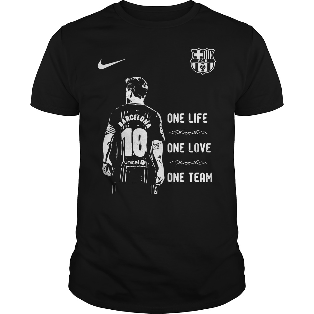 Messi Barcelona 10 one life one love one team Guys Shirt