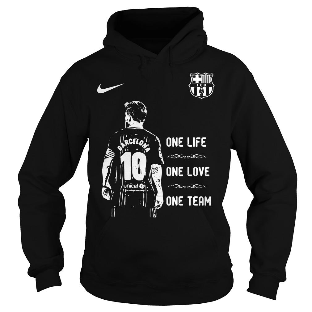 Messi Barcelona 10 one life one love one team Hoodie