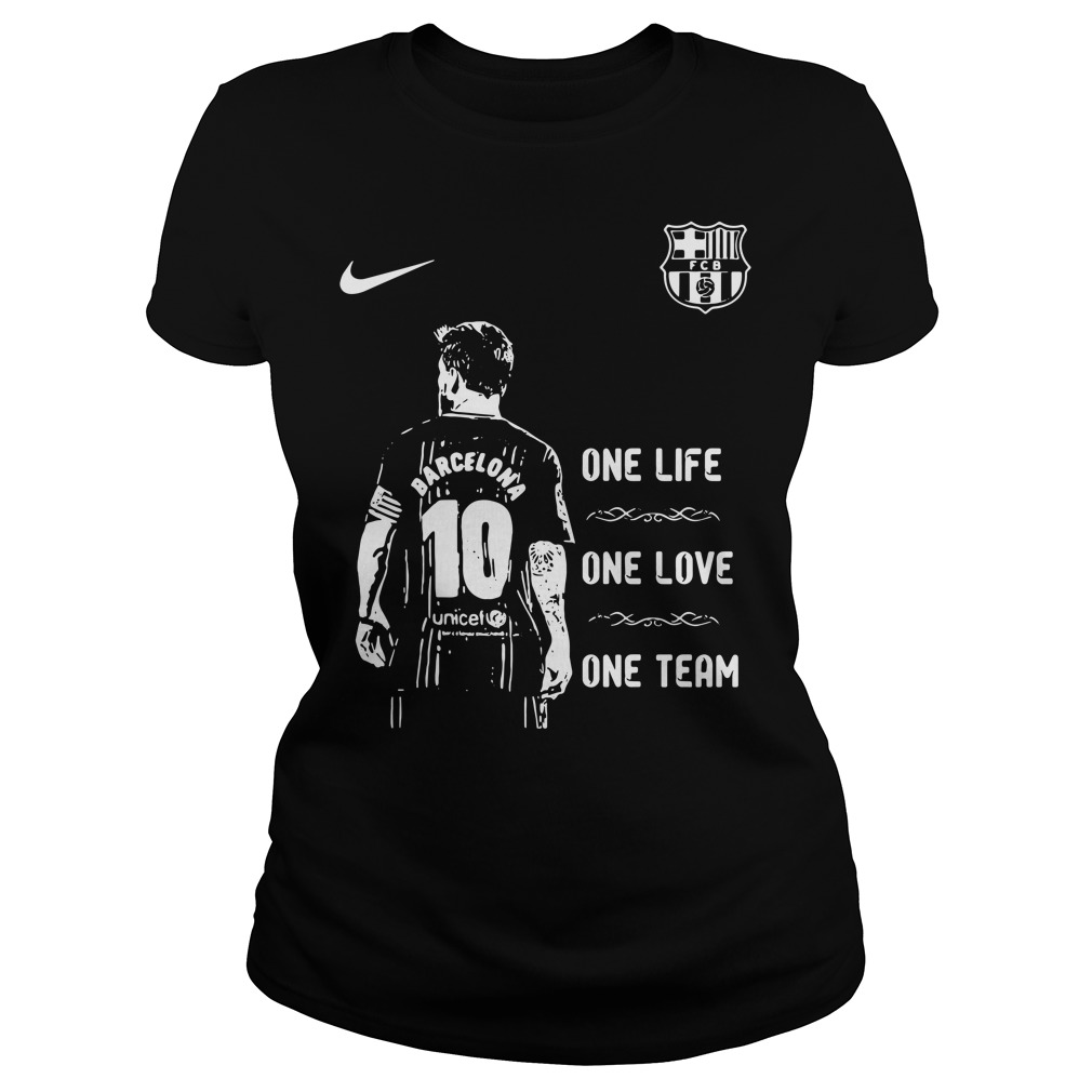 Messi Barcelona 10 one life one love one team Ladies Tee