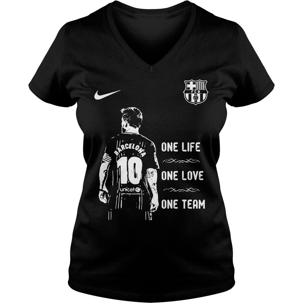 Messi Barcelona 10 one life one love one team V-neck T-shirt