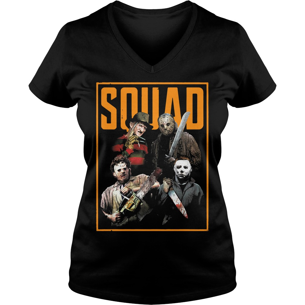 Official The Nightmare Ends on Halloween Squad V-neck T-shirt