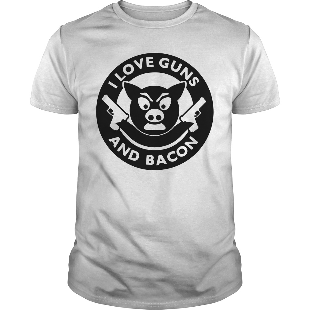 Pig I love guns and bacon Guys Shirt