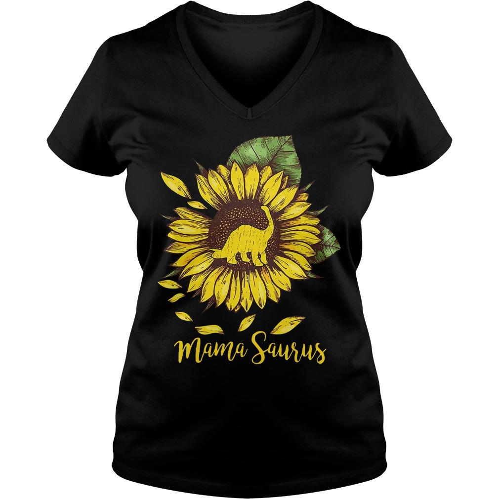Sunflower Mama saurus V-neck T-shirt
