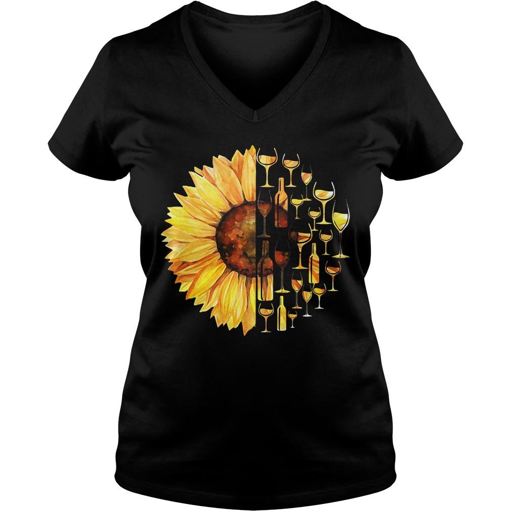 Sunflower wine glass V-neck T-shirt