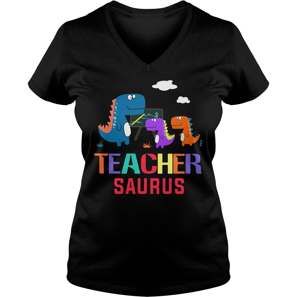 Teacher Saurus V-neck T-shirt