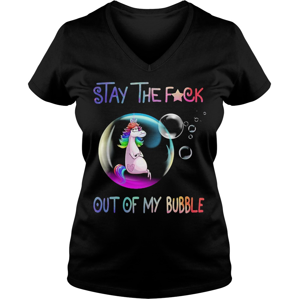 Unicorn stay the fuck out of my bubble V-neck T-shirt