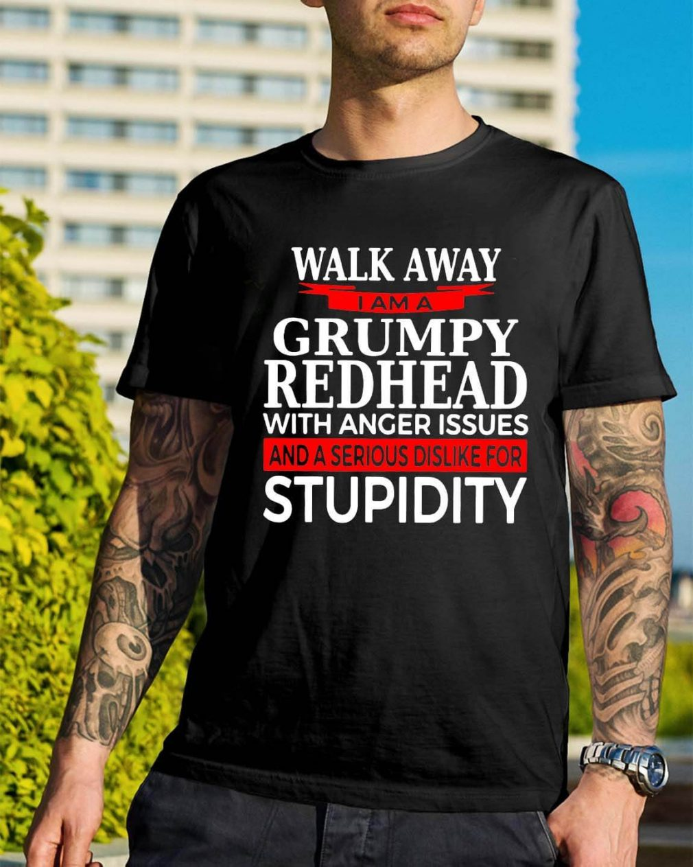 Walk away I am Grumpy redhead with anger issues shirt