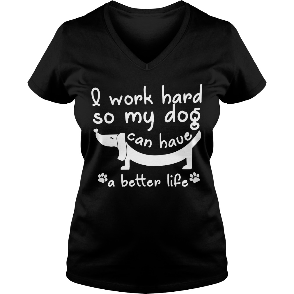 I work hard so my dog can have a better life V-neck T-shirt