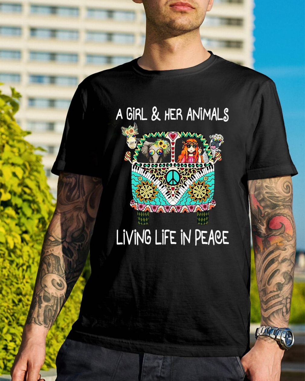 A girl and her animals living life in peace shirt