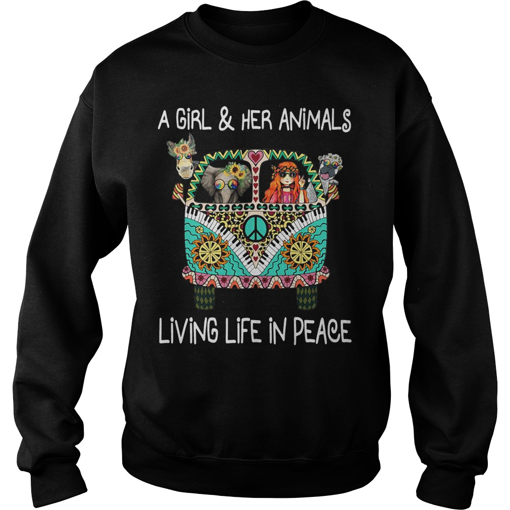 A girl and her animals living life in peace Sweater