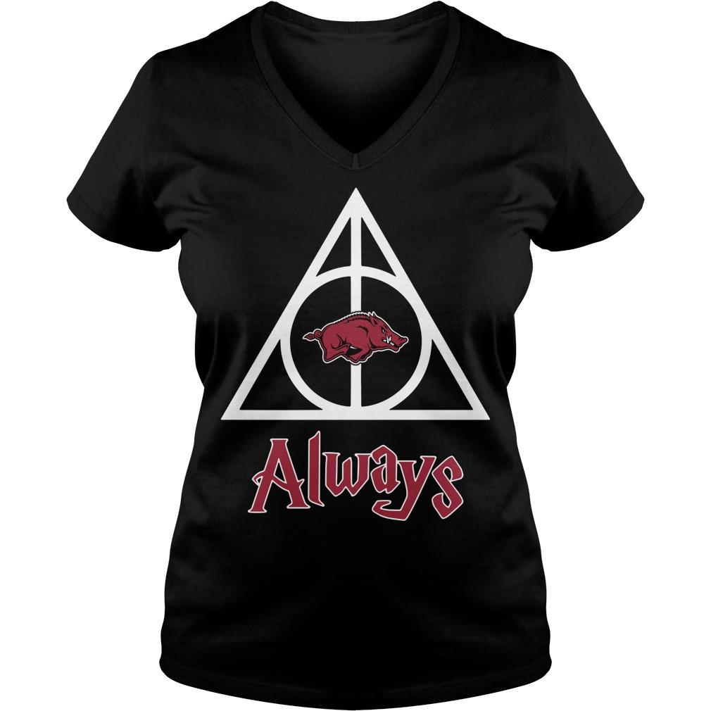 Arkansas Razorbacks Deathly Hallows Always Harry Potter V-neck T-shirt