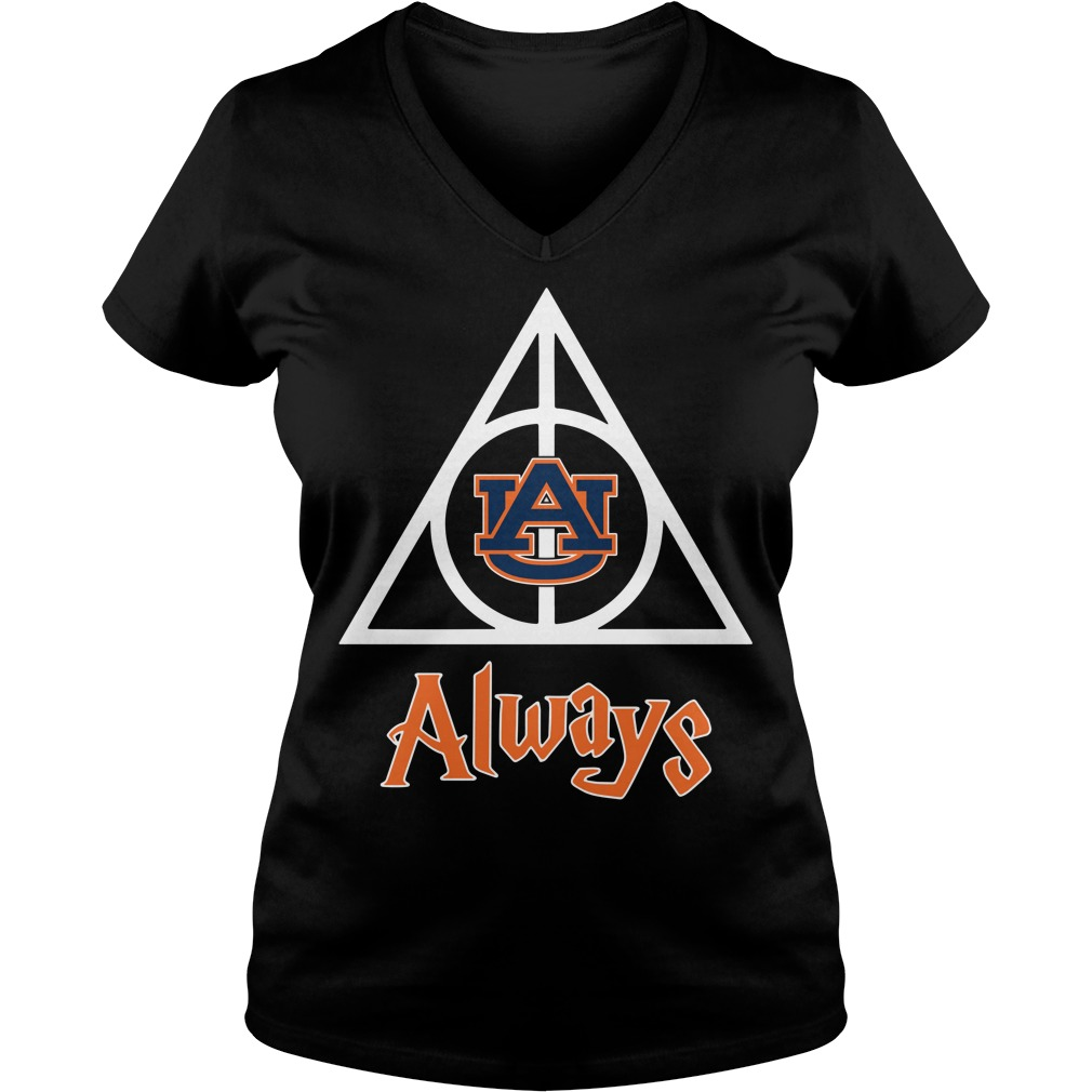 Auburn University Deathly Hallows always Harry Potter V-neck T-shirt