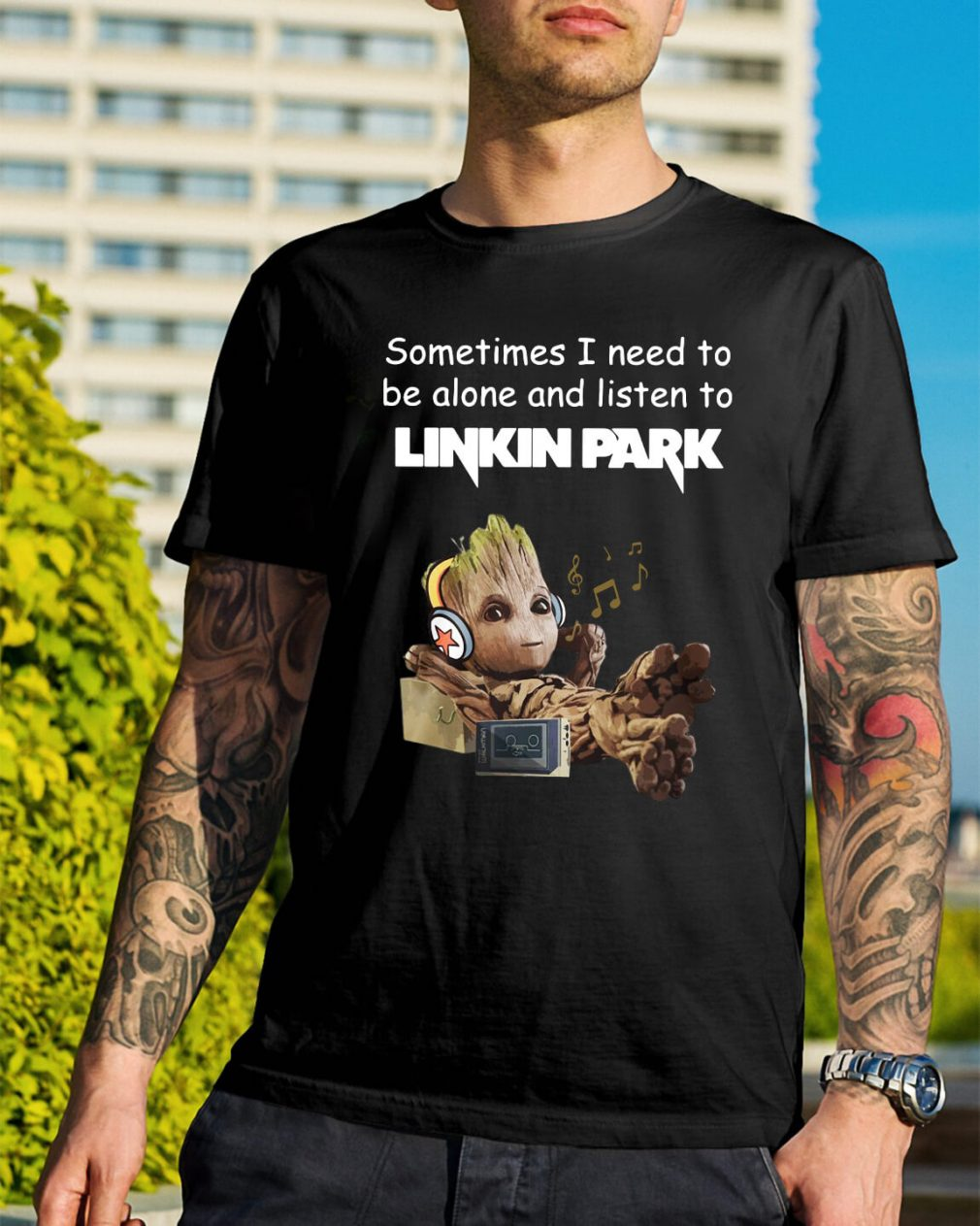 Baby Groot sometimes I need to be alone and listen to Linkin Park shirt