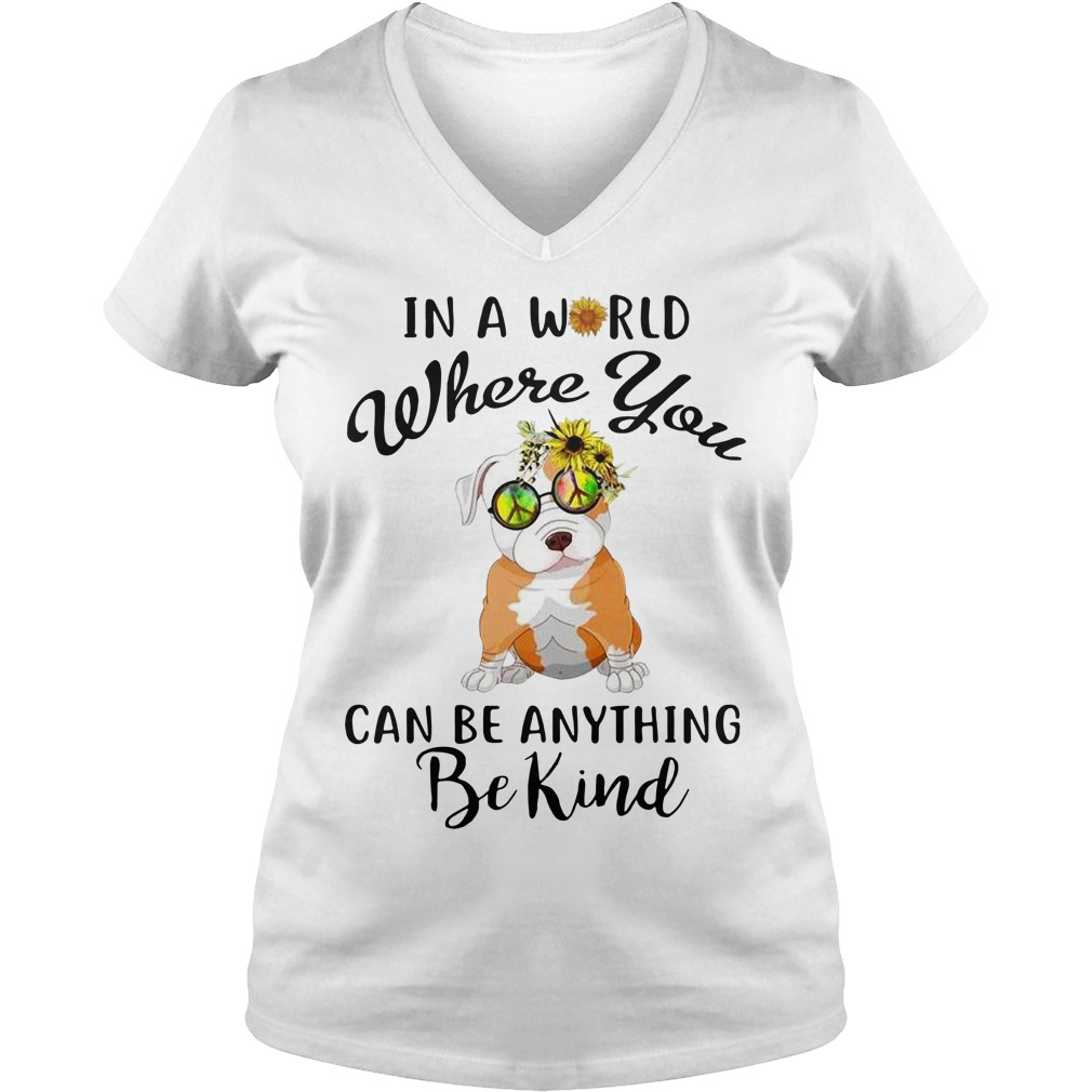 Bulldog sunflower hippie in a world where you can be anything V-neck T-shirt