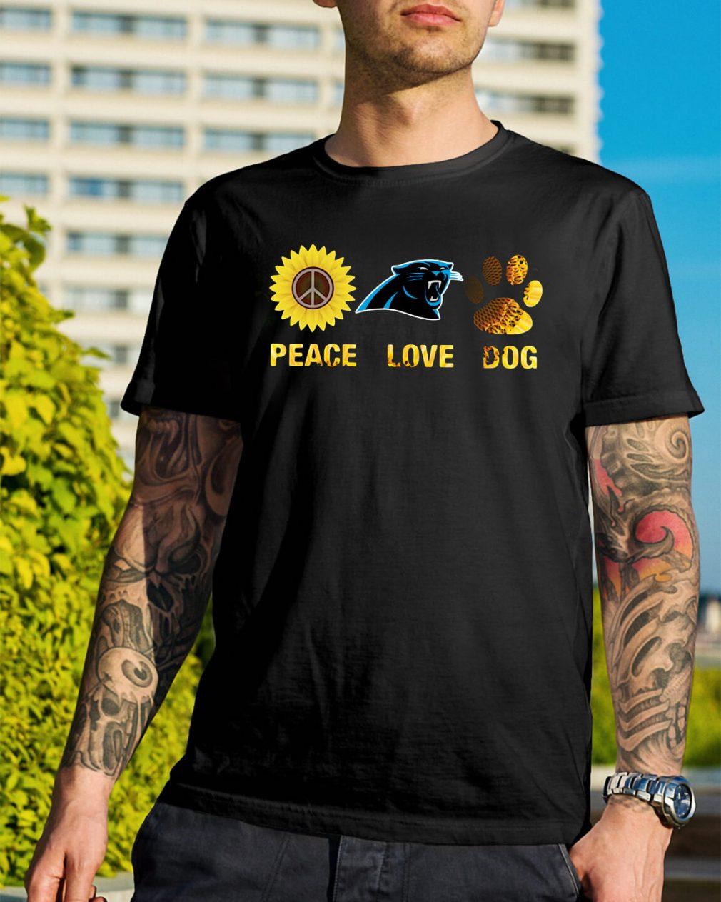 Carolina Panthers peace love dog shirt