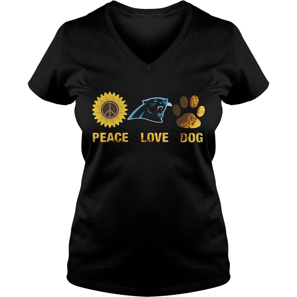 Carolina Panthers peace love dog V-neck T-shirt