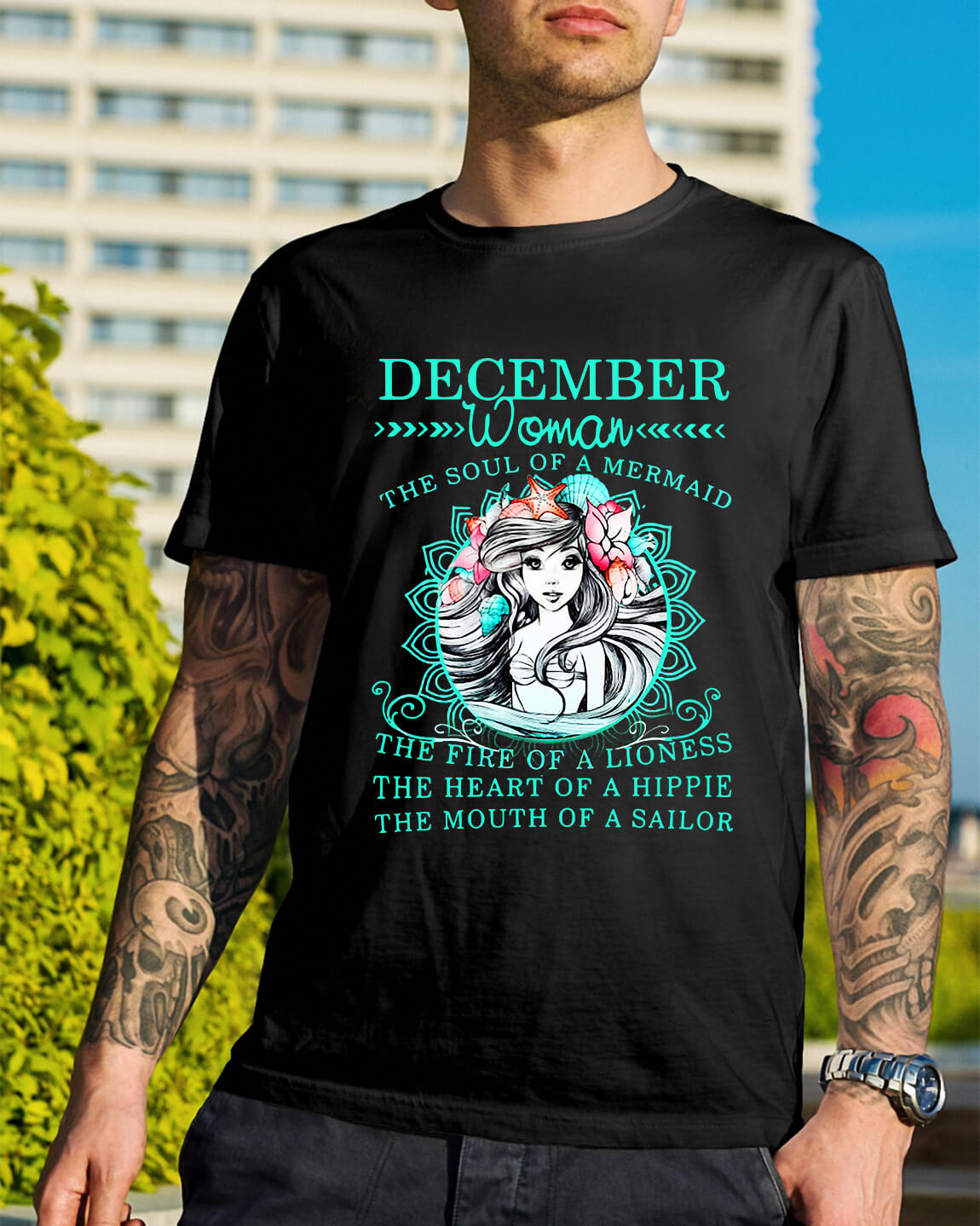 5d35aa7a December woman the soul of a mermaid the fire of a lioness shirt