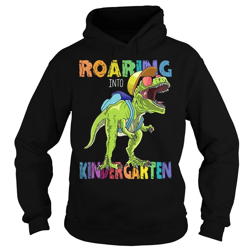 Dinosaurs T-rex roaring into kindergarten Hoodie