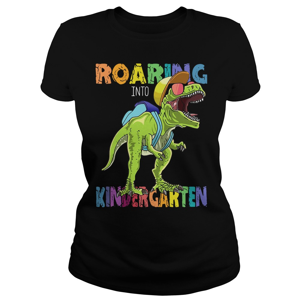 Dinosaurs T-rex roaring into kindergarten Ladies Tee