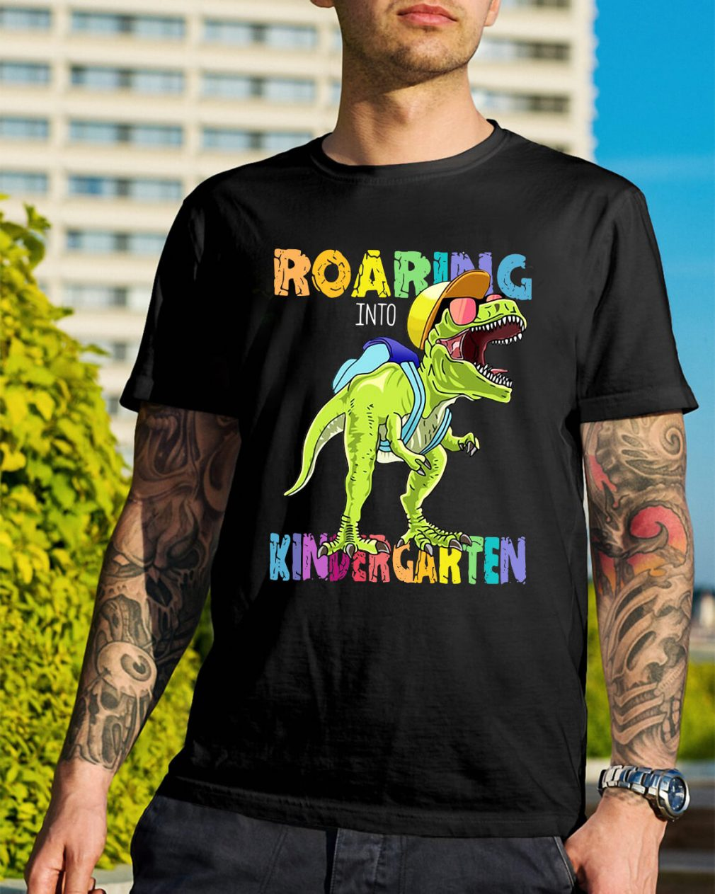 Dinosaurs T-rex roaring into kindergarten shirt