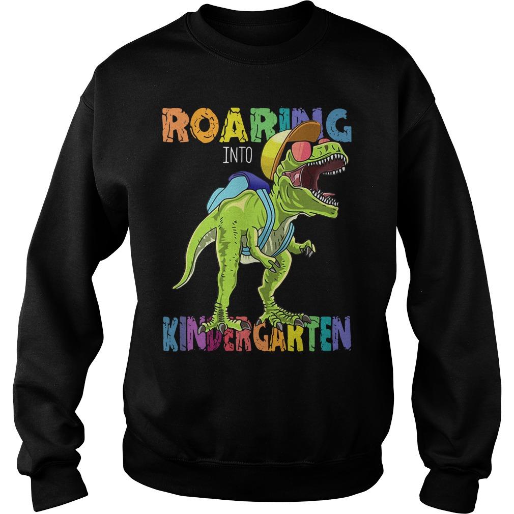 Dinosaurs T-rex roaring into kindergarten Sweater