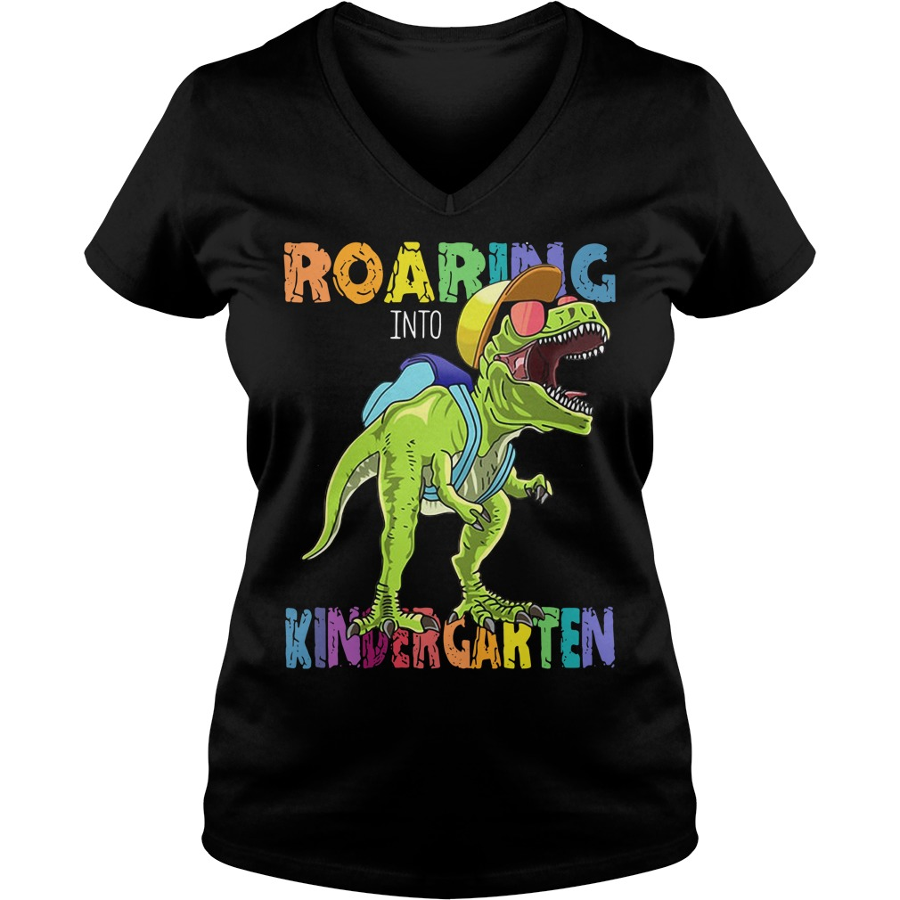Dinosaurs T-rex roaring into kindergarten V-neck T-shirt