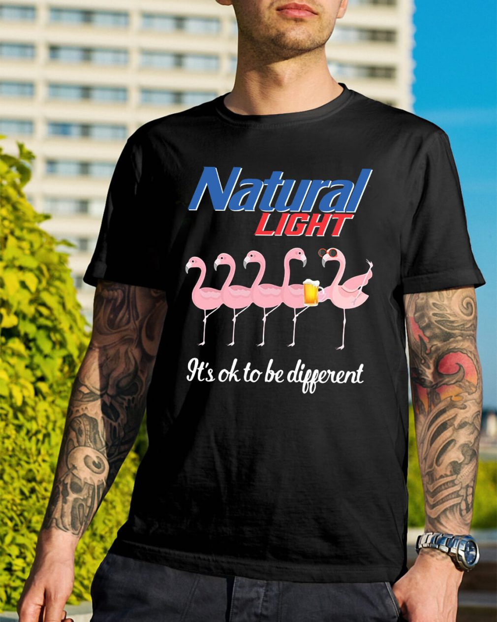 Flamingo natural Light it's ok to be different shirt