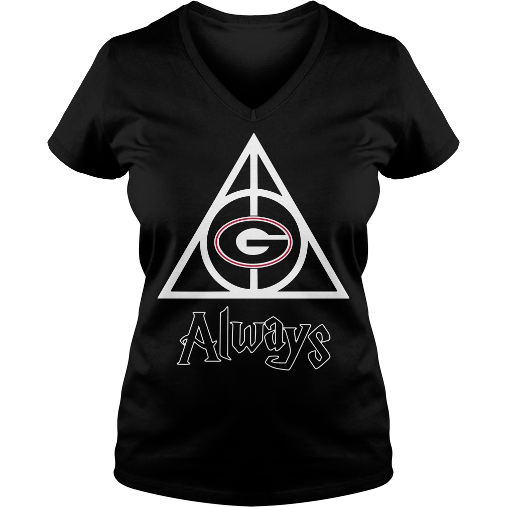 Georgia Bulldogs Deathly Hallows always Harry Potter V-neck T-shirt