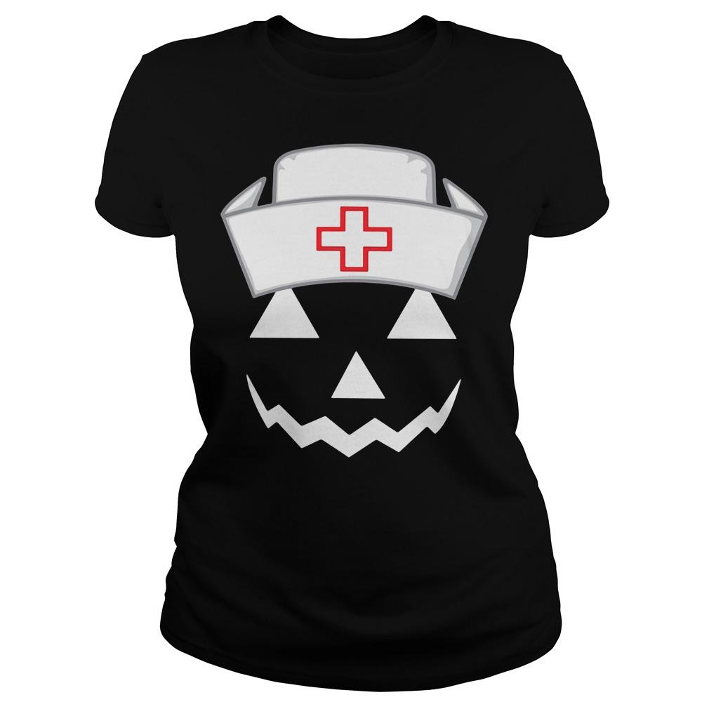 Halloween pumpkin nurse Ladies Tee