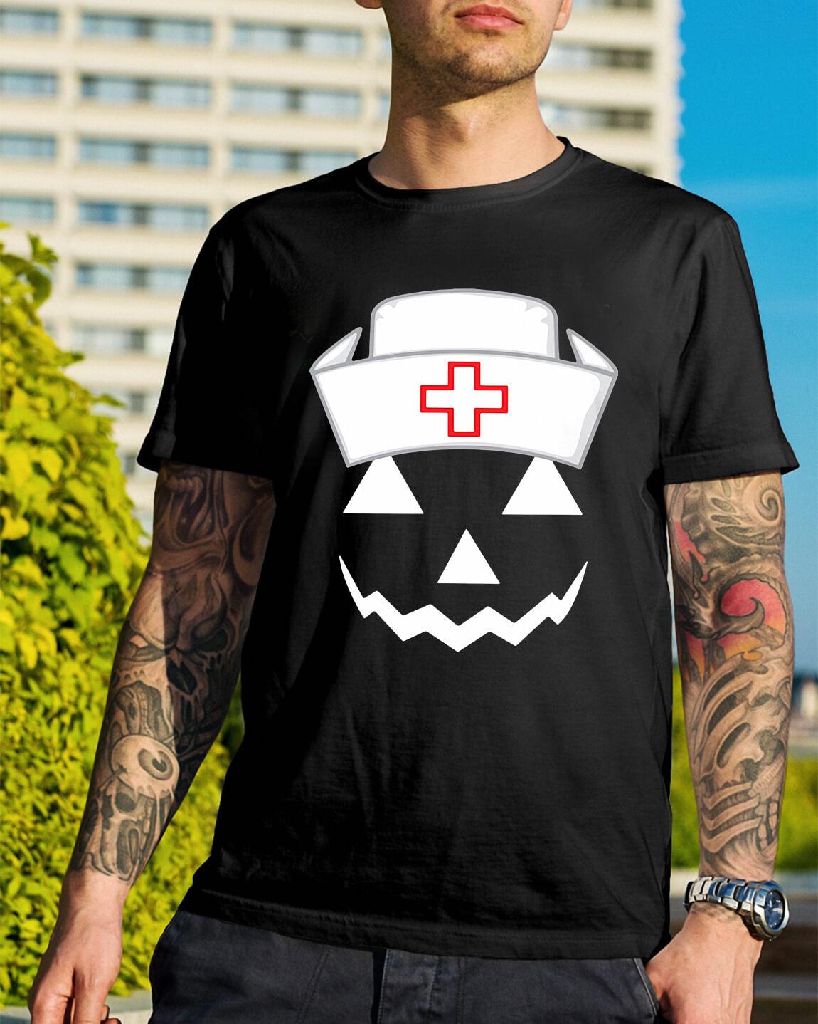 47a60c49 Halloween pumpkin nurse shirt, hoodie, sweater and v-neck t-shirt