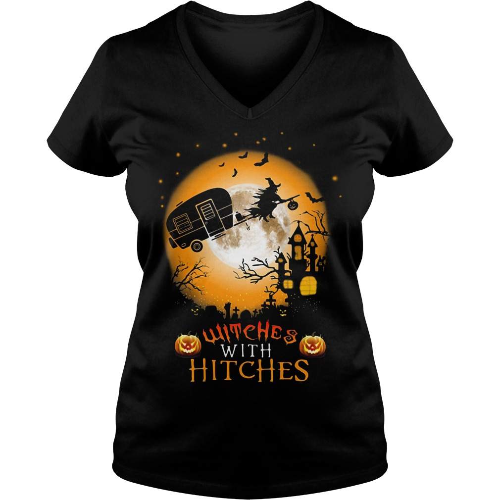 Halloween witches with hitches V-neck T-shirt