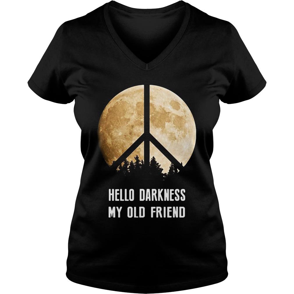 Hippie moon hello Darkness my old friend V-neck T-shirt