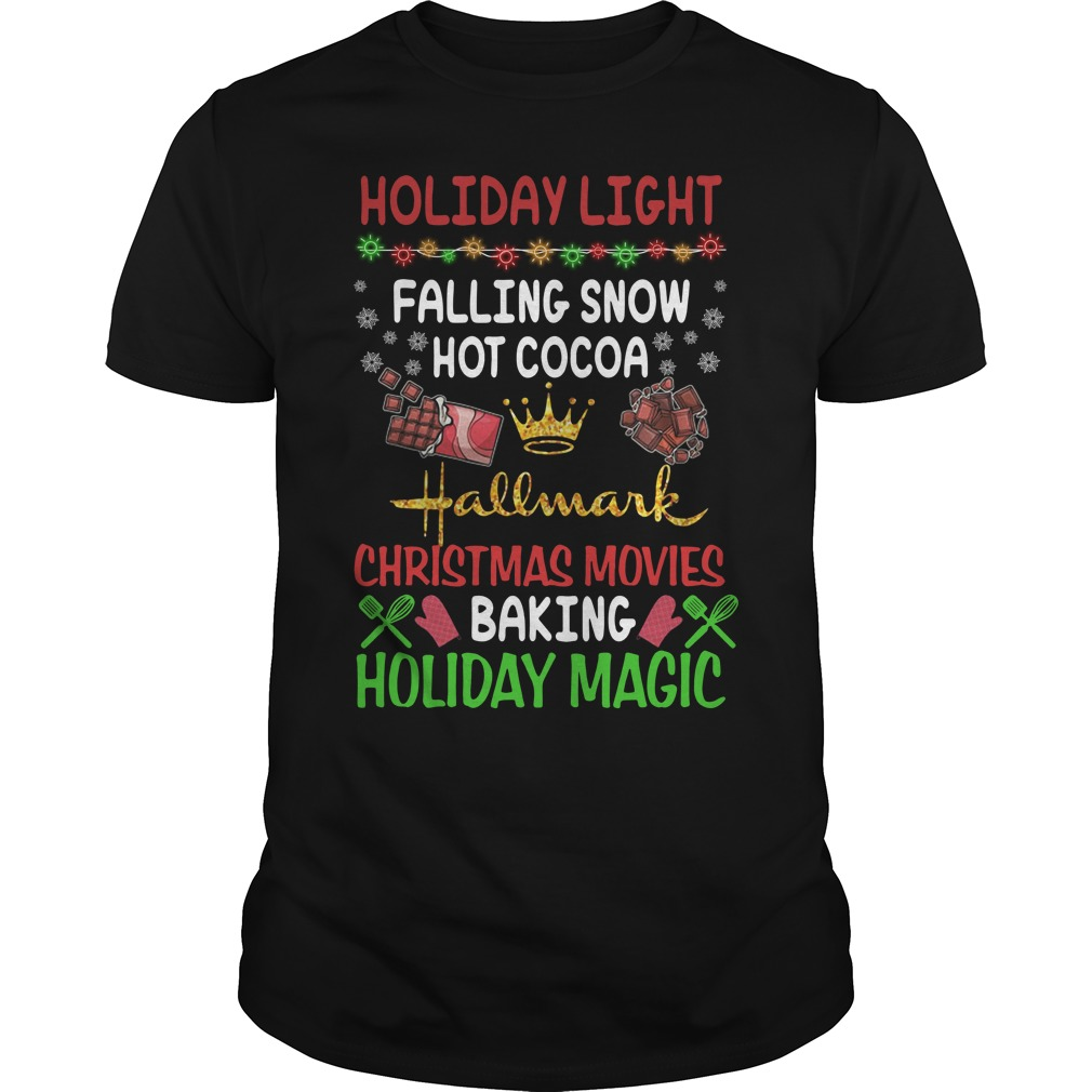 Holiday light falling snow hot cocoa Hallmark Christmas movies Guys Shirt