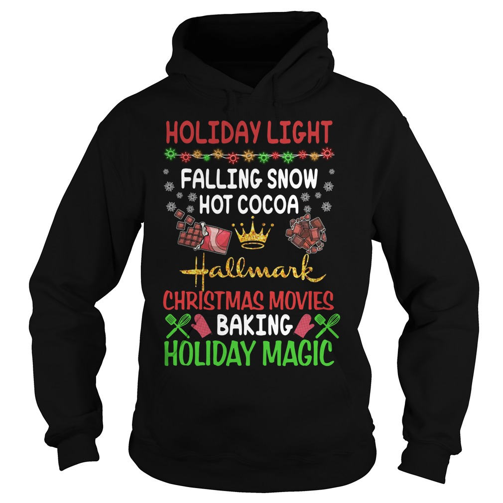 Holiday light falling snow hot cocoa Hallmark Christmas movies Hoodie