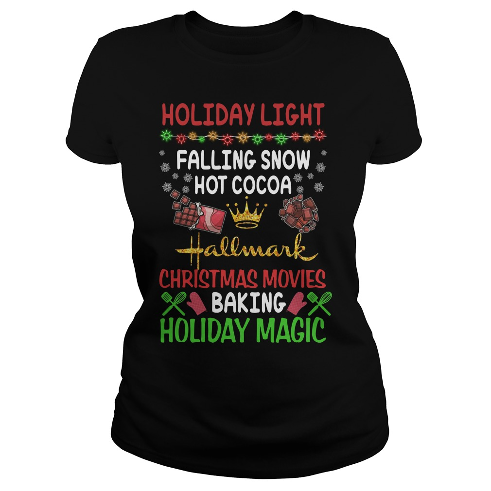 Holiday light falling snow hot cocoa Hallmark Christmas movies Ladies Tee
