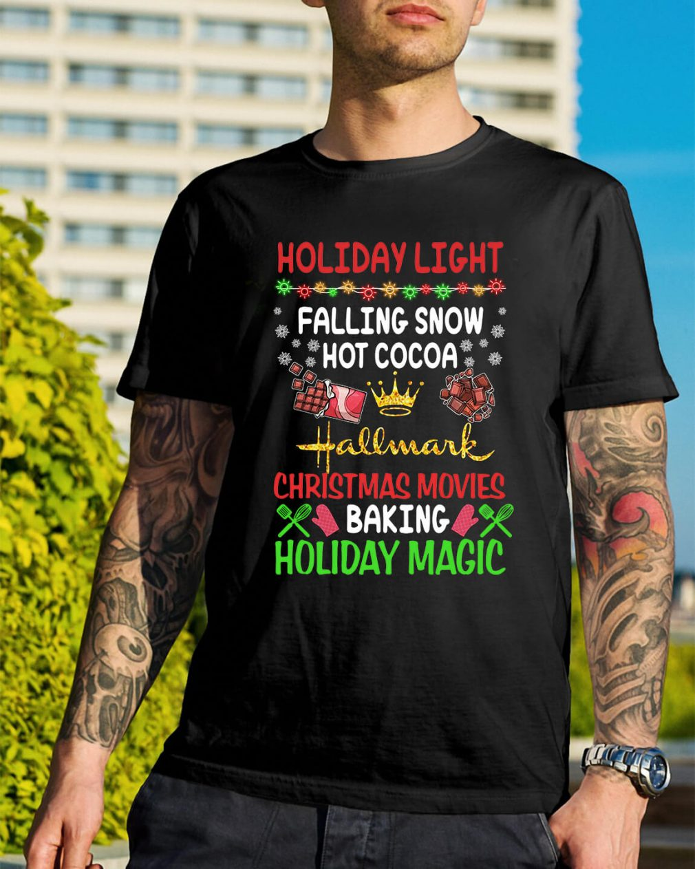 Holiday light falling snow hot cocoa Hallmark Christmas movies shirt