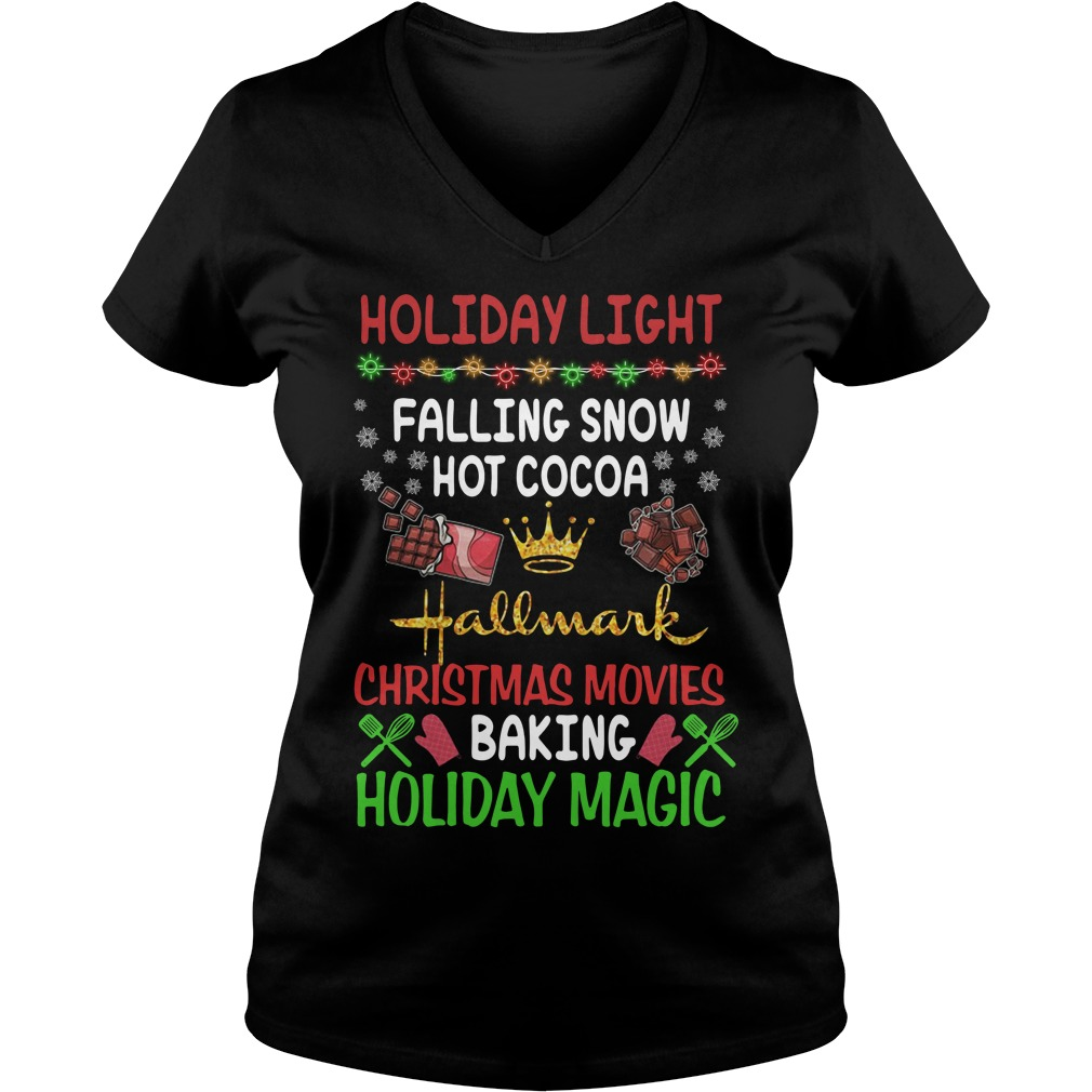 Holiday light falling snow hot cocoa Hallmark Christmas movies V-neck T-shirt