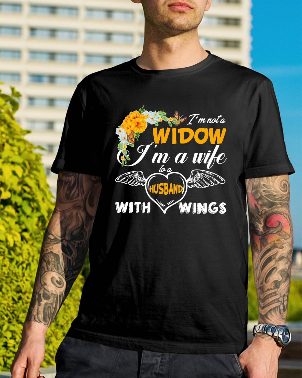 I'm not widow I'm a wife to a husband with wings shirt